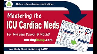 ICU Medications you should know Cardiac Blood Pressure NCLEX Nursing KAMP Alpha Beta Critical Card