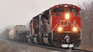 Cn 8852 East (with Gtw Gp38 2) By Burlington, Illinois On 2 10 2012