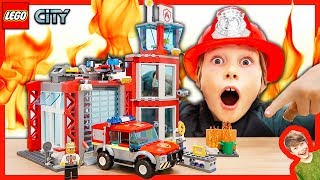 Lego City Firefighter Costume Pretend Play with Real Fireworks!