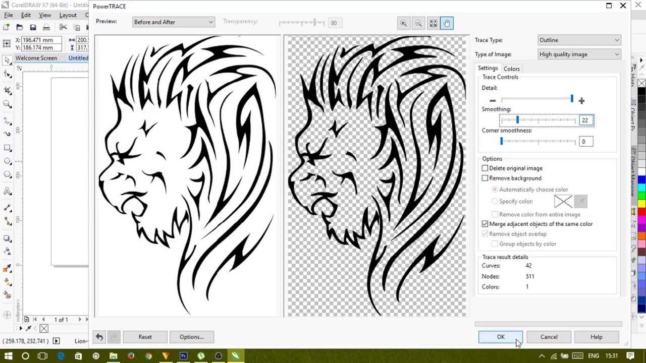 Line Art Corel Draw : Converting low quality vector drawing to high