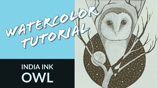 India Ink Painting Tutorial: Owl