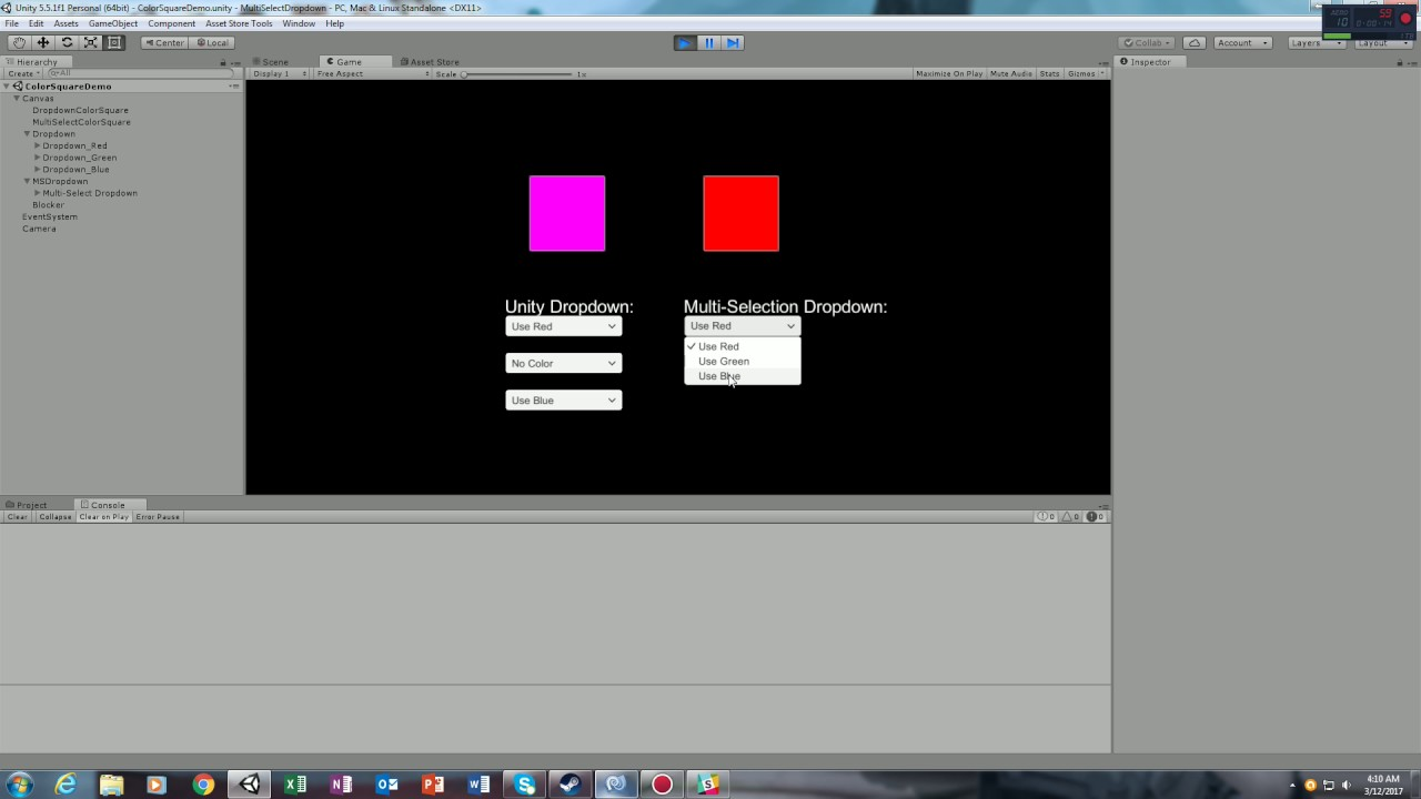 Multi-Selection Dropdown Menu for Unity: In Use Demonstration
