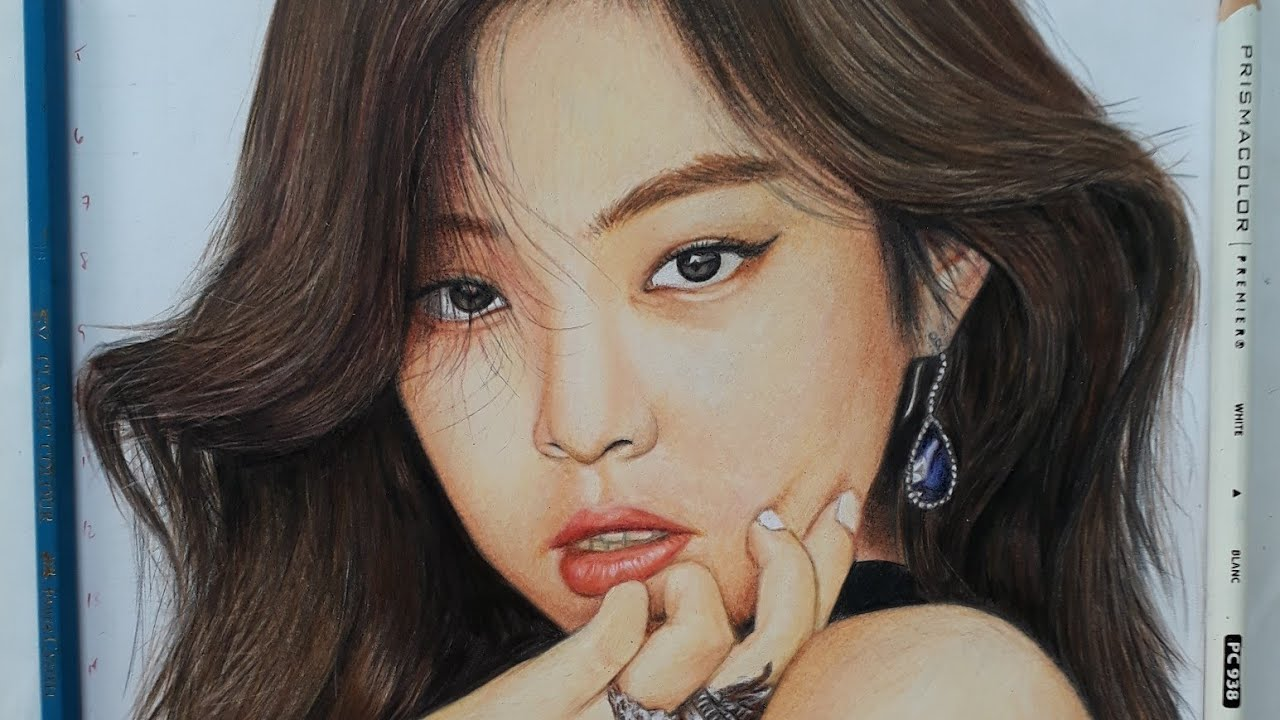 (SLOWER) BLACKPINK Jennie Kim Portrait | Colored Pencil ...
