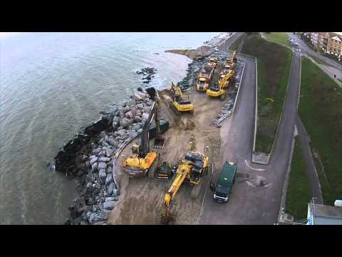Clacton on sea, Holland on sea sea. Defence works clips