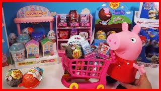 小豬佩奇逛超市,買到珍寶珠巧克力玩具蛋,Shopkins健達出奇蛋