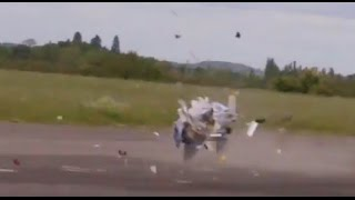 RC PLANE CRASH - HIGH SPEED ELEVON FLUTTER DESTROYS F-15 EAGLE AT LONG MARSTON MODEL AIRSHOW - 2015