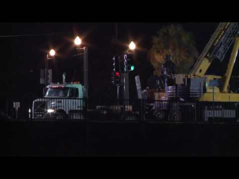 Monument base taken down; statue part taken away