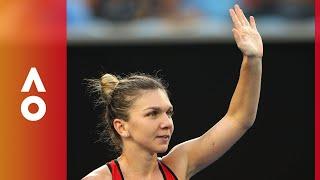 Simona Halep celebrates after an epic victory over Lauren Davis (3R) | Australian Open 2018