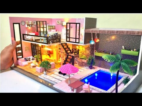 6 DIY Miniature Dollhouse Rooms Two Storey Barbie Dreamhouse Mansion Decor
