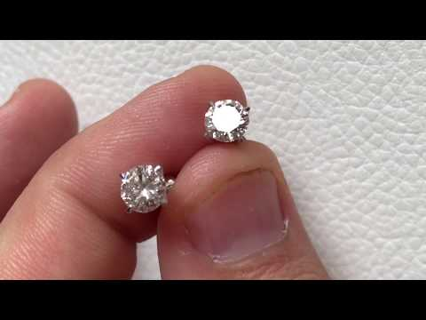 Чудесная пара, камни как слеза! (см в HD) Золотые пуссеты с бриллиантами