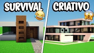 Minecraft: CASA MODERNA NO SURVIVAL VS CASA MODERNA NO CRIATIVO