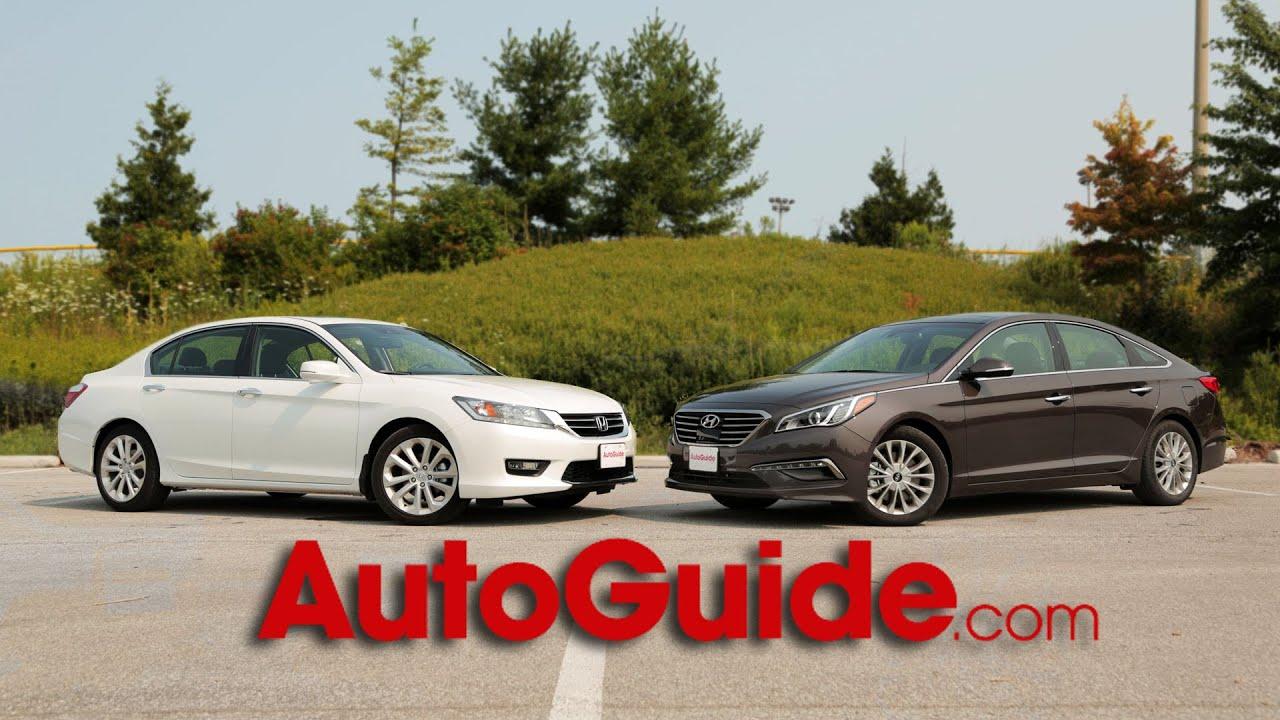 Red Hyundai Sonata >> 2014 Honda Accord vs. 2015 Hyundai Sonata - YouTube