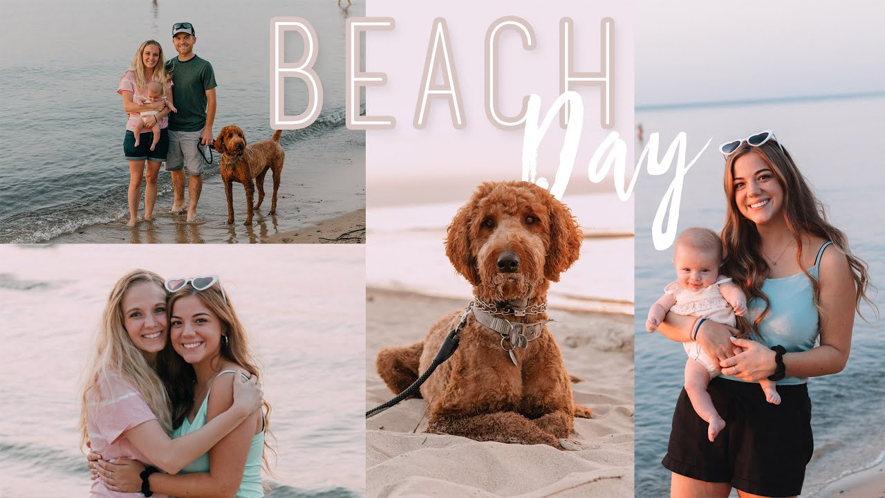 TAKING OUR BABY TO THE BEACH!! Beach day with 4 dogs, a baby & our friends! :)