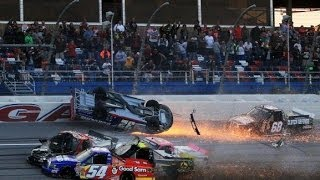 NASCAR Huge Truck Wreck During the Final Laps | Talladega Superspeedway (2013)