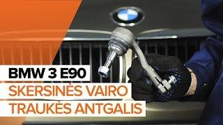 Skersinės vairo trauklės galas keitimas BMW 3 (E90) - vaizdo pamokomis