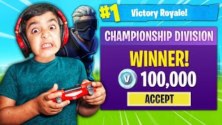 LITTLE BROTHER ATTEMPTS TO WIN 100,000 V-BUCKS IN FORTNITE CHAMPION LEAGUE!