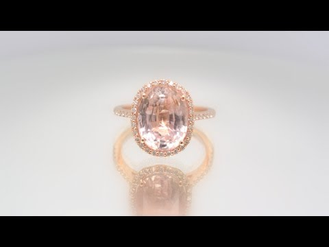 7.65 ct Unheated Champagne Peach Sapphire Rose Gold Engagement Ring