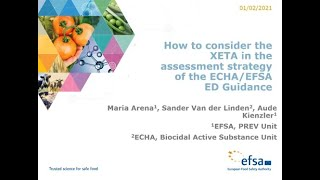 Webinar:Use of the XETA in the assessment strategy of the ECHA/EFSA Guidance on Endocrine Disruptors