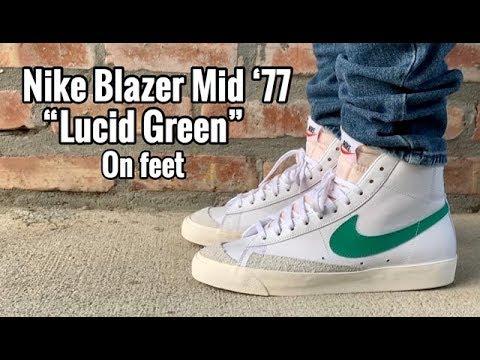 """Nike Blazer Mid 77 Vintage """"Lucid Green"""" on Feet"""