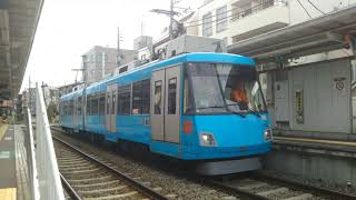 東急世田谷線  東京急行電鉄 300系 「モーニングブルー」 302F 2両編成  下高井戸 行  松原駅を発車