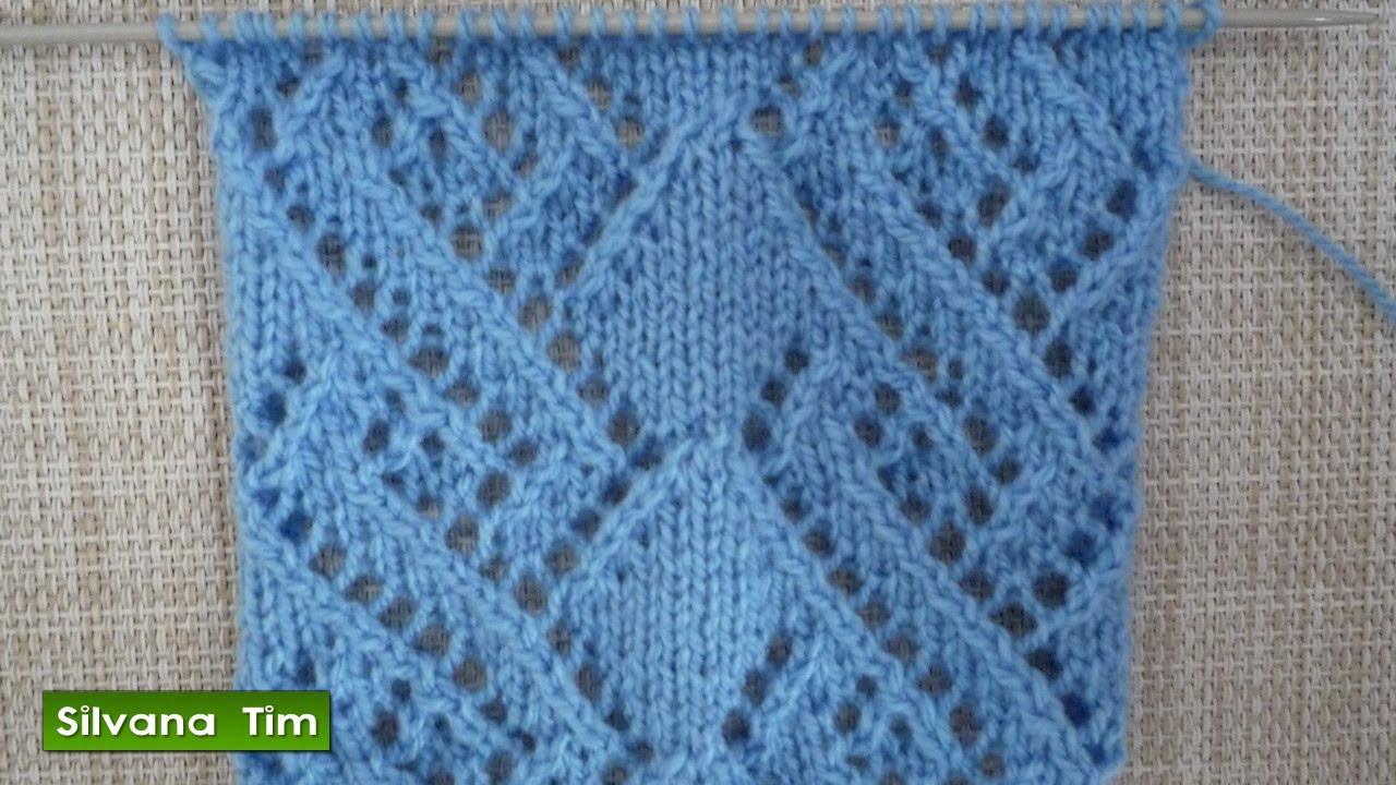 Punto puntada rombos calados tejido con dos agujas - Puntos faciles para tejer con dos agujas ...