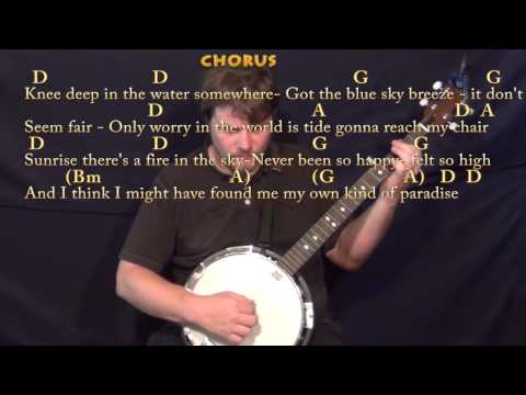 Knee Deep (Zac Brown) Banjo Cover Lesson in D with Chords/Lyrics