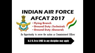 Technical Jobs | AFCAT 2017 | Indian Airforce Officers Recruitment 2017