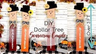DIY DOLLAR TREE SCARECROW COUPLE | OVER 3 FT TALL SCARECROWS | FALL DECOR