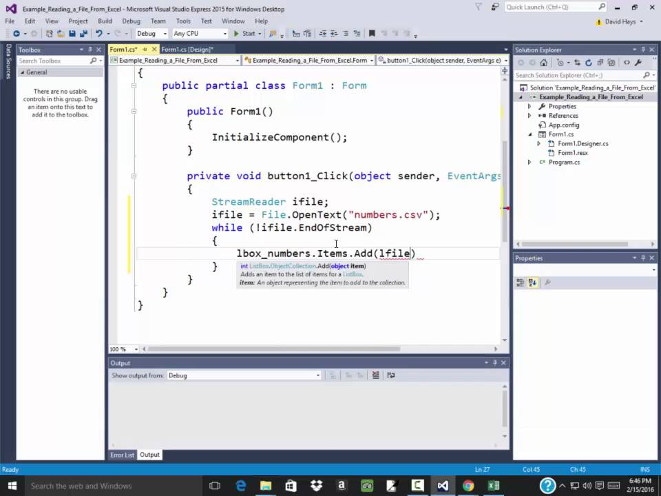 C# Programming - Reading in a File from Excel, Part 1 - YouTube