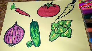 how to draw vegetables |salad making vegetable drawing for kids | play learn paint
