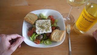 Greek Food Taste Test | Greek Salad & Retsina | Food & Drink