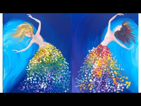 Magical Sisters Dancing LOVE acrylic EASY tutorial