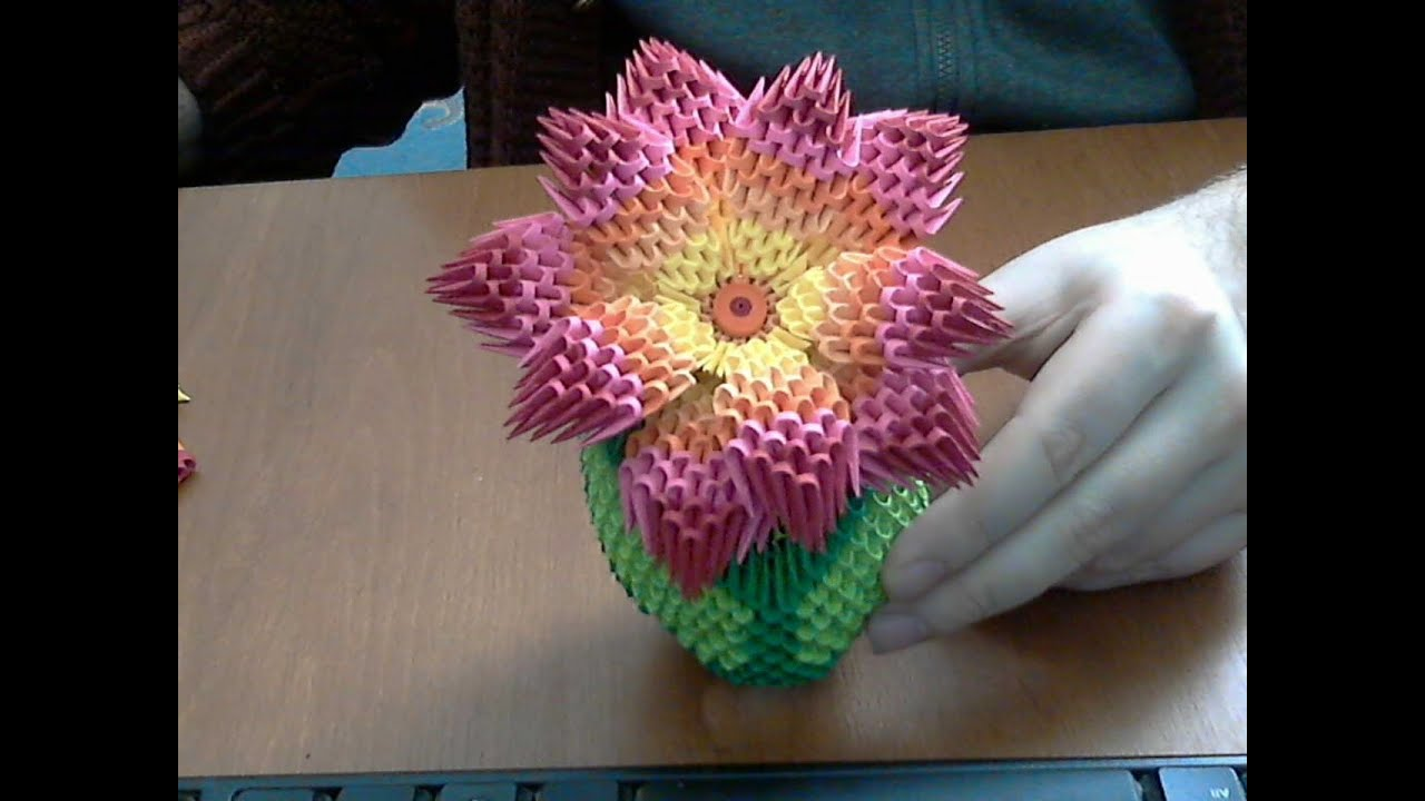 3d origami flower tutorial rainbow flower youtube mightylinksfo
