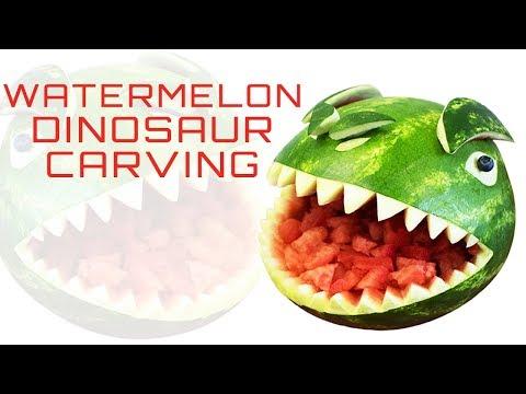 Watermelon Carving - Creative Food Ideas | Dinosaur fruit carving