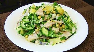 Картофельный салат с сельдью и свежим огурцом
