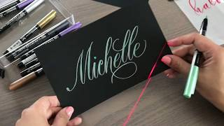how to create name tags with metallic brush pens and a laser writer