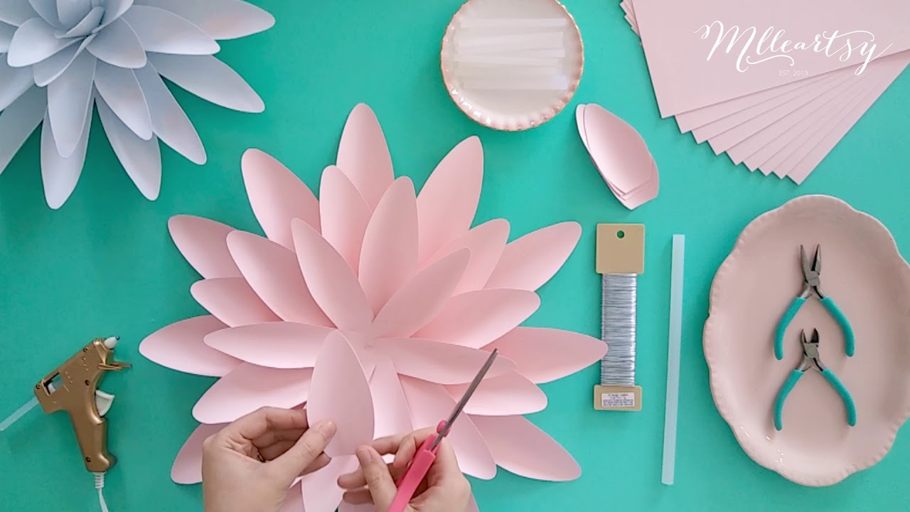 Diy Tutoriel Fleur En Papier Geante Dahlia Paper Flower Tutorial