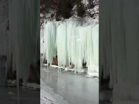 Ice curtains Grand Island off Munising Upper Penisula of Michigan