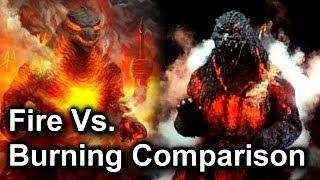 Fire Godzilla and Burning Godzilla Comparison / Legendary Vs. Heisei Godzilla Power Ups