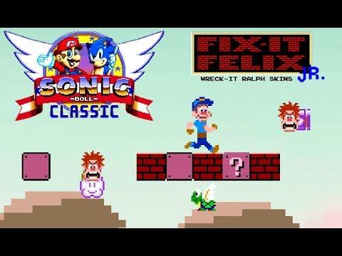 Sonic Boll mods- Fix-It Felix jr. skin & Wreck-It Ralph world skin (Full Gameplay)