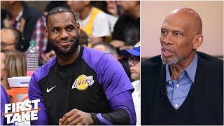 Kareem Abdul-Jabbar high on LeBron James' arrival, Lakers' expectations | First Take thumbnail