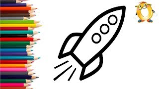 Раскраска для детей РАКЕТА. Мультик - Раскраска. Учим цвета.