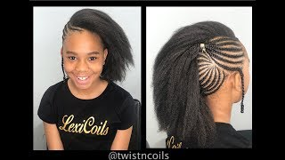 ♡ TnC -83 ♡ Tween Natural Hairstyles - Side Braids w/ Braidout