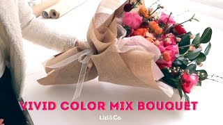 Vivid Color Flower Bouquet Wrapping Tutorial