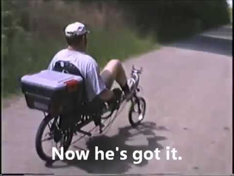 First time riding a recumbent bicycle.