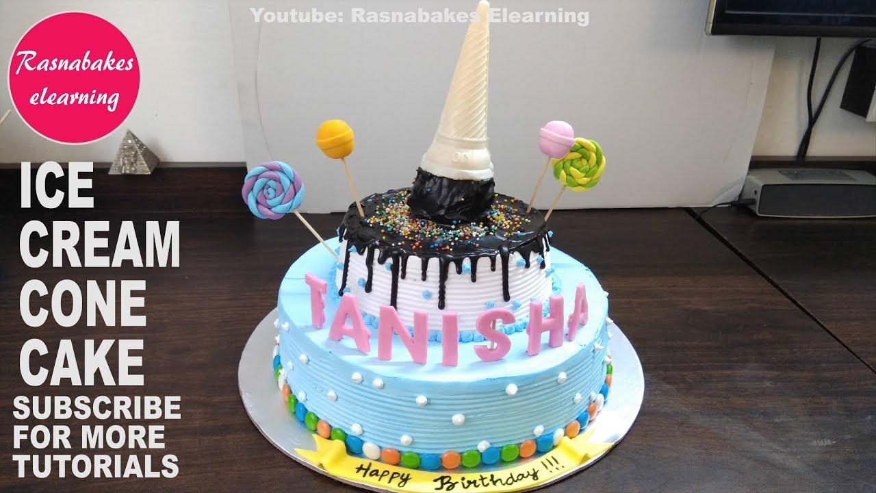 Birthday Cake Ice Cream Cone Kids Designrecipe Pic Ideas Images Bakery Maker Decorating