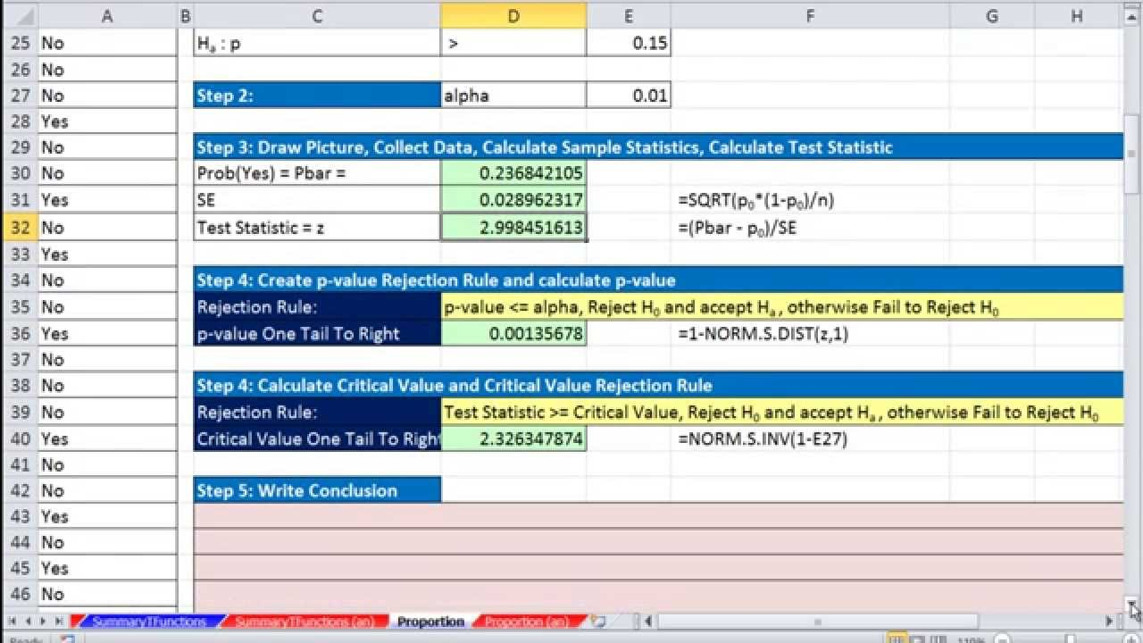 Excel Statisticalysis 61 Hypothesis Test For