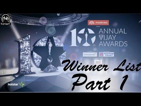 10th Annual Vijay Awards 2018   Award Winner List   PART 1   Bluetickspot