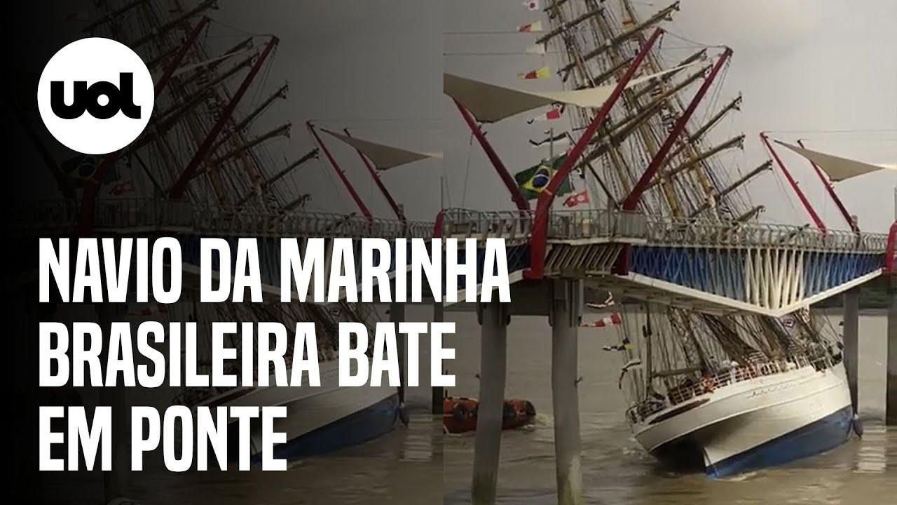 Download Navio da Marinha brasileira bate em ponte no Equador