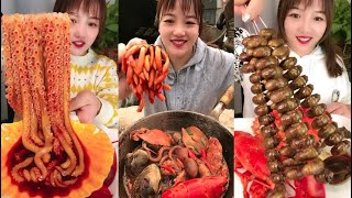 Spicy and Live Mukbang Eating Seafood ASMR  Delicious Octopus, Lobster | Chinese food #128